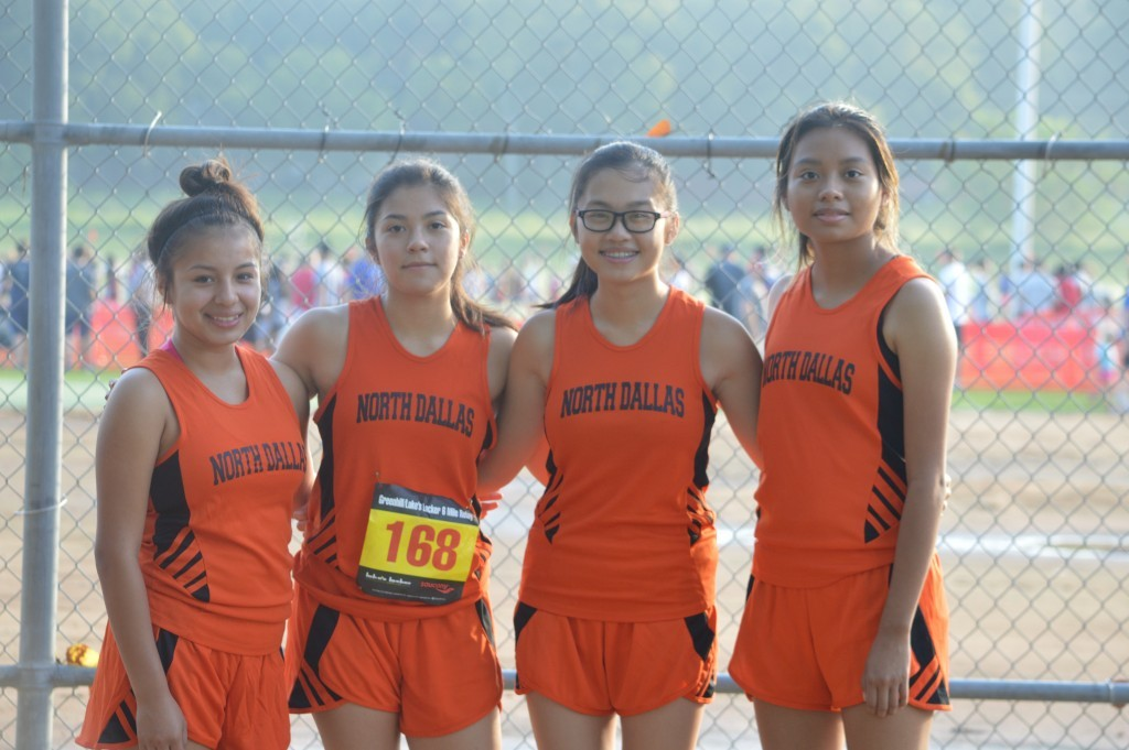 The varsity cross country runners include Fatima Rincon (from left), Abigail Aldape, Kathy Nguyen and Janette Lopez.
