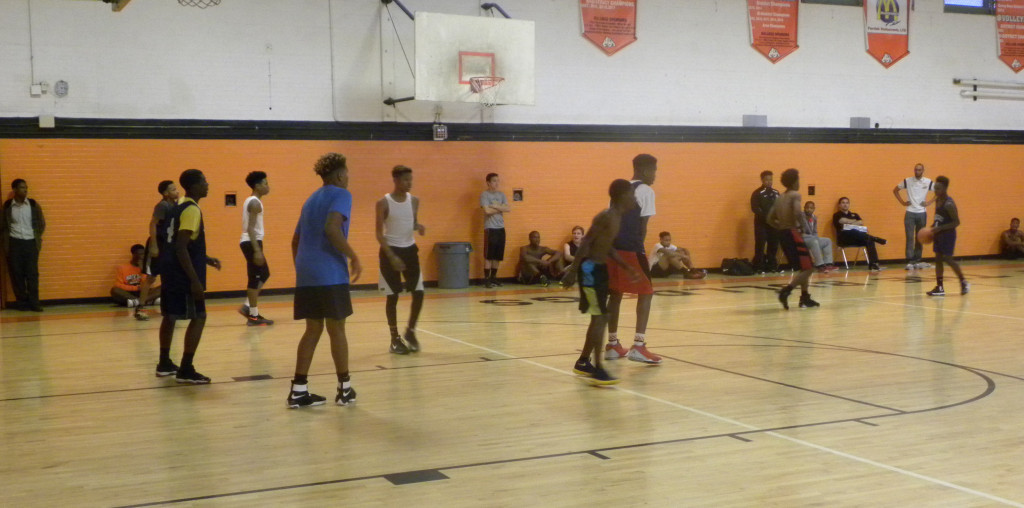 The North Dallas freshman team scrimmages during Wednesday's tryouts.