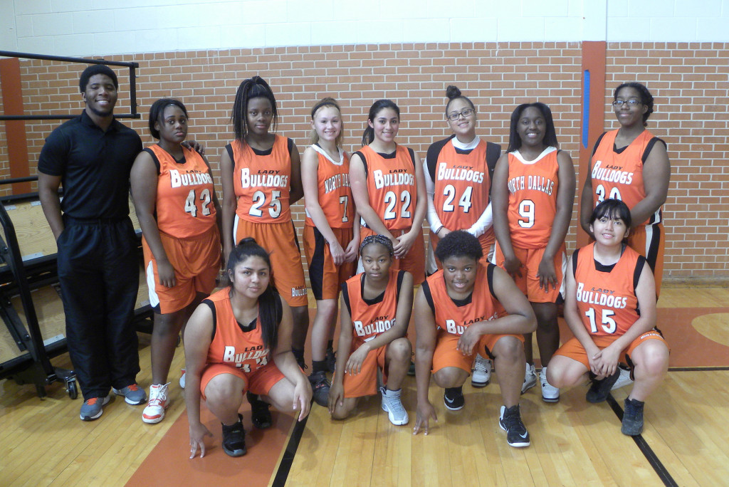 The North Dallas junior varsity: (back, from left) Coach Christen Bell, Shannon Angton, Nakeisha Alridge, Maryssa Reyes, Gissel Valdez, Clarissa Aguilar, Nia Reese, and Shakira Anderson; (front, from left) Rosa Salgada, Ashya Johnson, Shaterria Jeffrey, and Jennifer Torres.