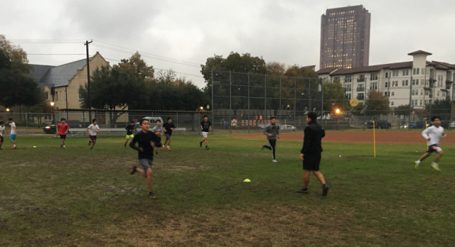 North Dallas boys soccer team gets dirty in practice