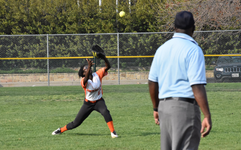 The Lady Bulldogs' Ladaysha Robinson makes the catch in center field.