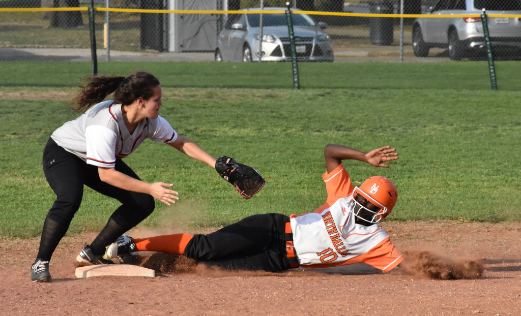 Ladaysha Robinson slides into second base during an earlier game.