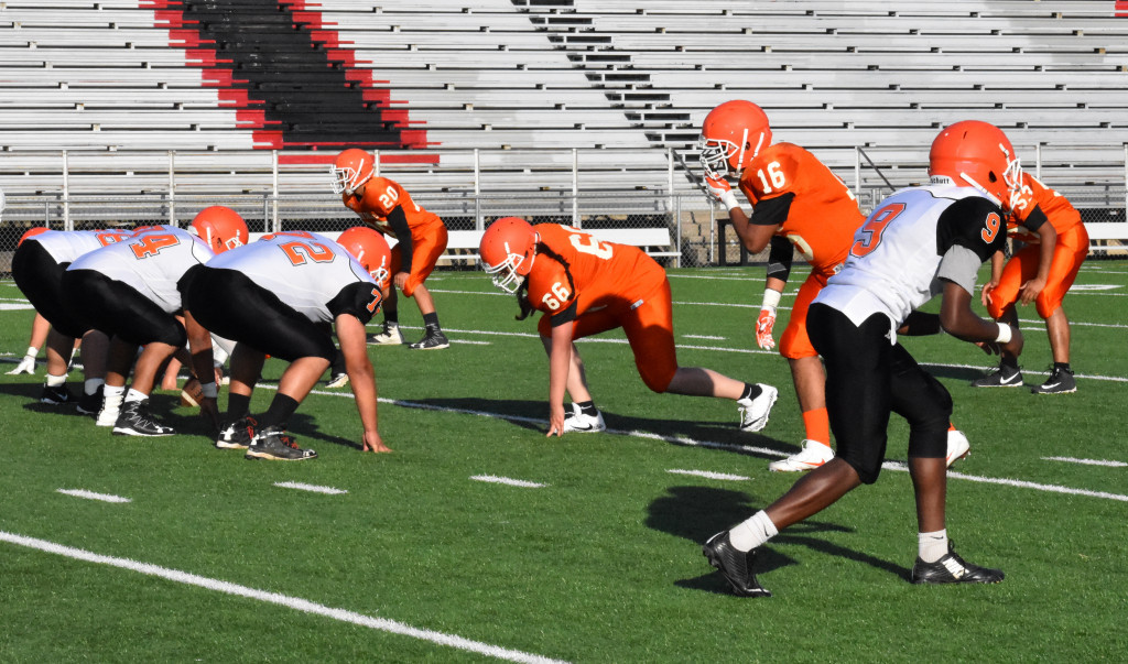 Stefhany Gonzalez (66) lines up on defense during the Spring game.