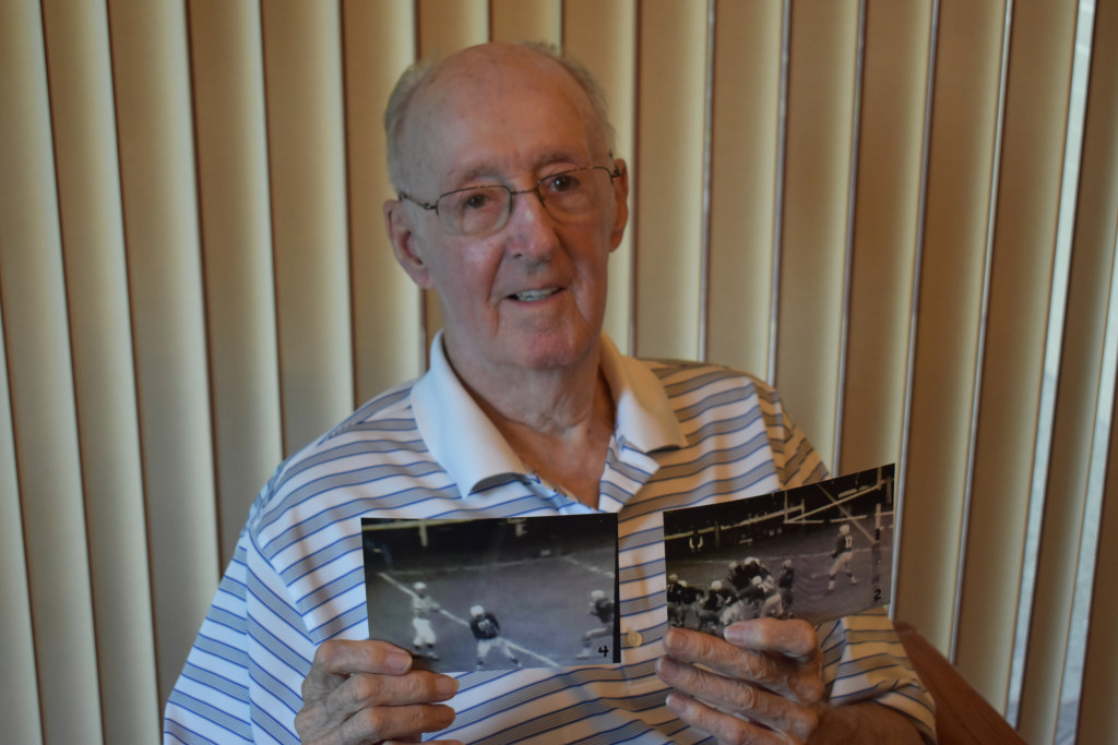 "Ogden Compton shows a sequence of photos from his 98-yard TD pass to Dick ""Night Train"" Lane in 1955. To see a video of the play, go to www.youtube.com/watch?v=MYdH1tuq8Bg"