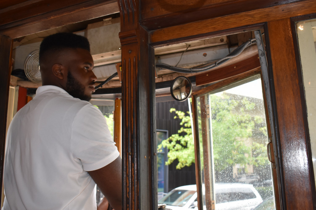 James Crayton keeps his eye on the road as he operates the trolley.