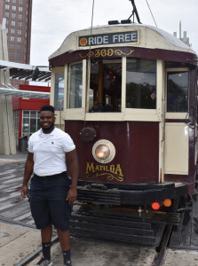 James Crayton stands with his trolley on a recent Saturday.