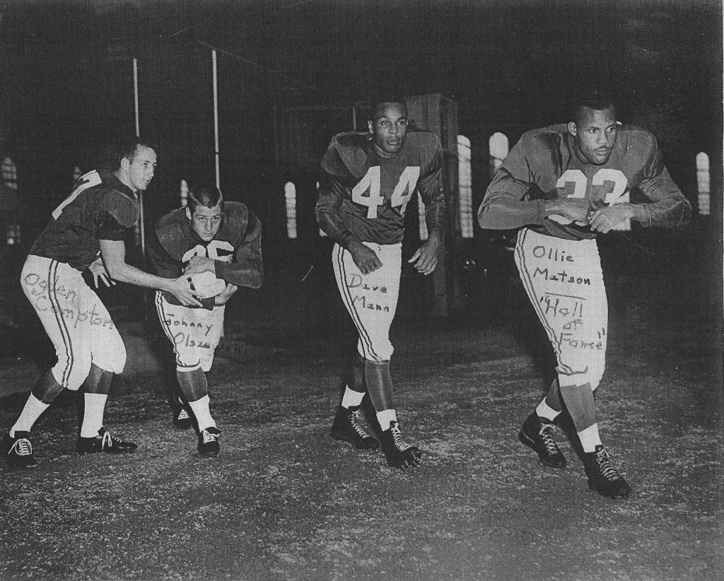 The Chicago Cardinals' backfield in 1955: (front left) Ogden Compton, Johnny Olszewski, Dave Mann and Ollie Matson.