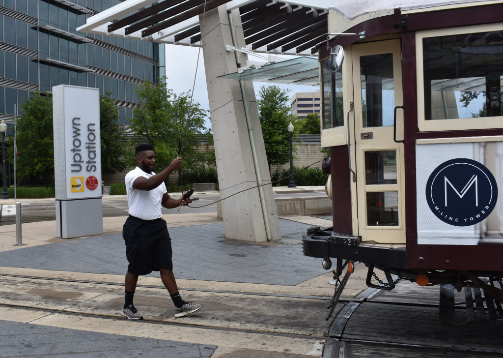 James Crayton turns the trolley around on Cityplace W. Boulevard.