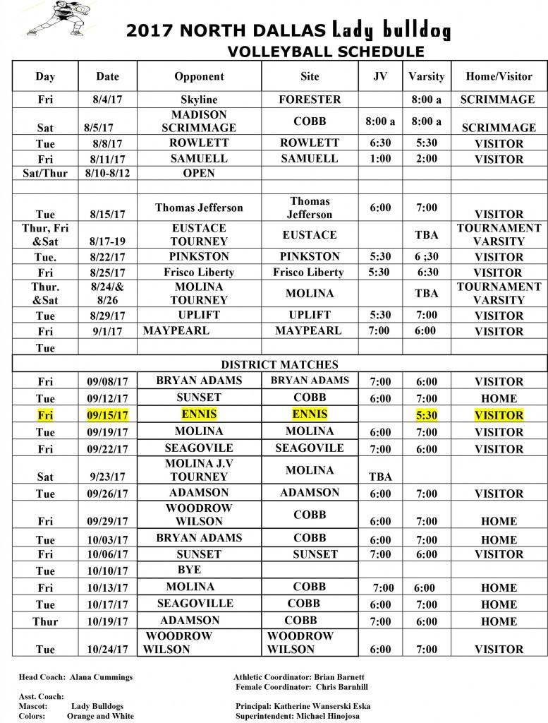2017 volleyball schedule