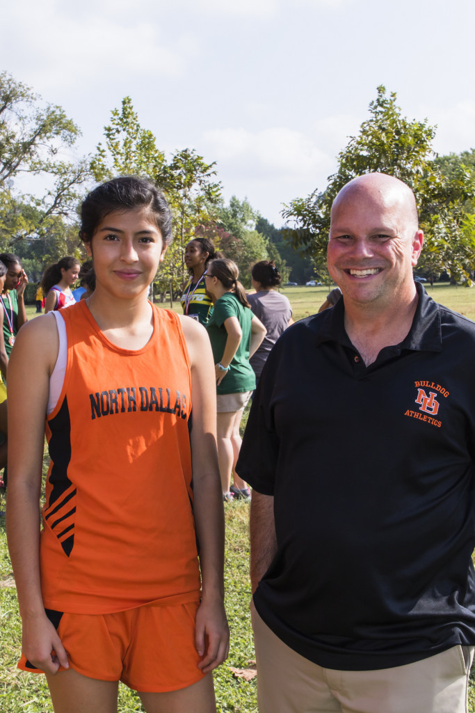 Diana Romero, who posted the second fastest time among the girls, and Coach Troy Power.