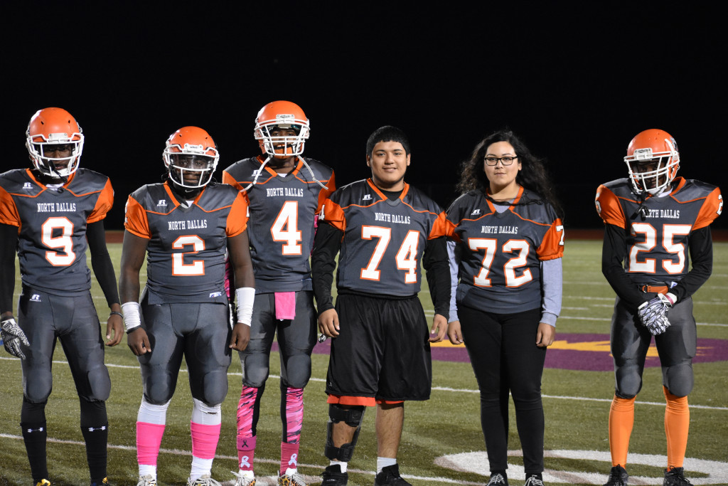 Stefhany Gonzalez (72) was one of the Bulldogs captains on Friday against Seagoville. She joins KeVonn Price (2) Tykedreaus Elder (4), Chris Ramirez (74) and Jeremiah Cooper (25) for the coin toss.