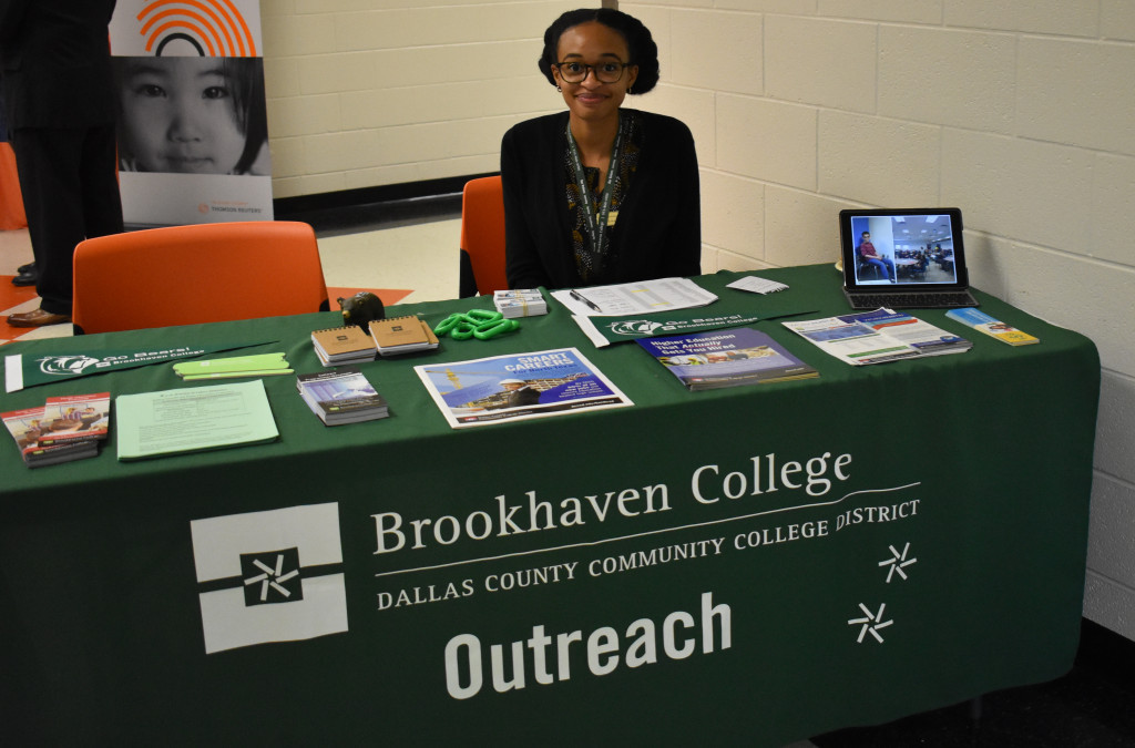 Erica Wilson, an early college dual credit coordinator at Brookhaven, provided information on the college's services.