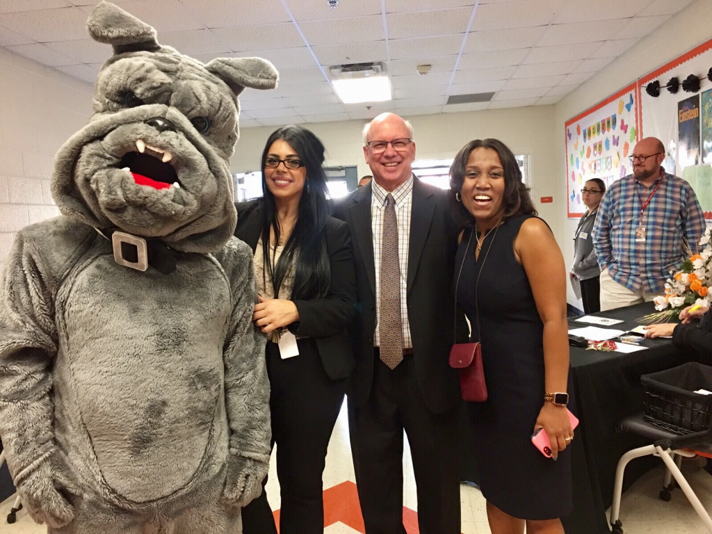 Spike, the Bulldog mascot, Christina, Mike Lemmon of the North Dallas Bulldog Support Leage and Jyles,