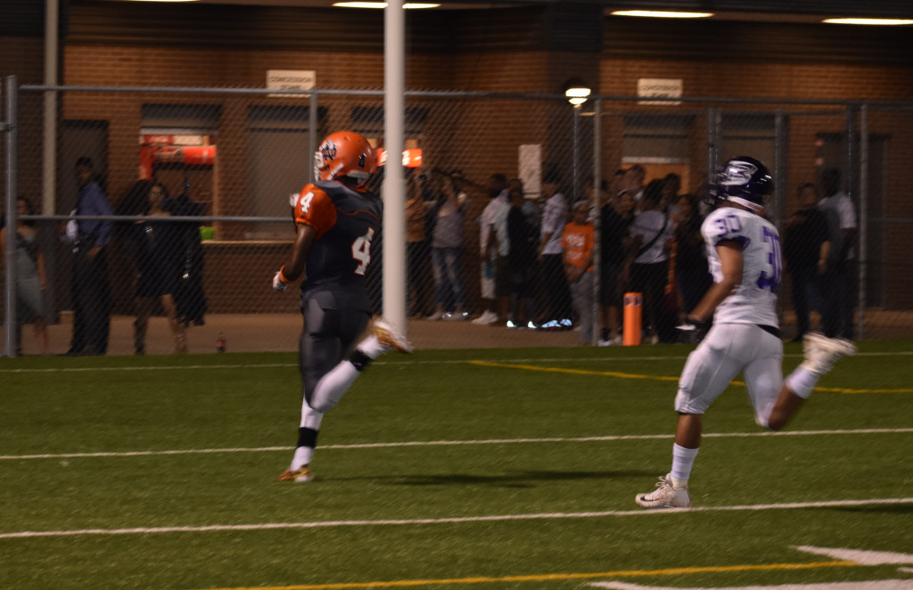 North Dallas receiver Tykedreaus Elder leaves the Sunset defender behind to complete a 55-yard scoring play.