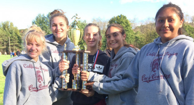 Lady Trojans finish 3rd at County XC Championships. Roberts and Boda medal.