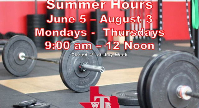 Travis Weight Room Summer Hours