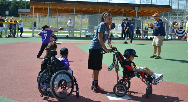 Girls basket ball pictures at the West Michigan Miracle Field