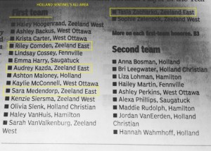 HOLLAND SENTINEL'S ALL-AREA SOFTBALL FIRST TEAM