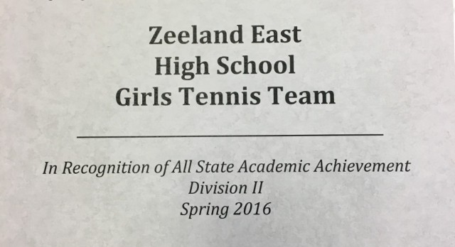 Girls Tennis Academic All State!