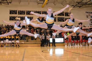 Union cheer leaders raise Cougar hopes with one of their routines