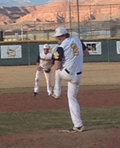 A.K. Nielsen prepares to deliver to the plate vs. Juab.