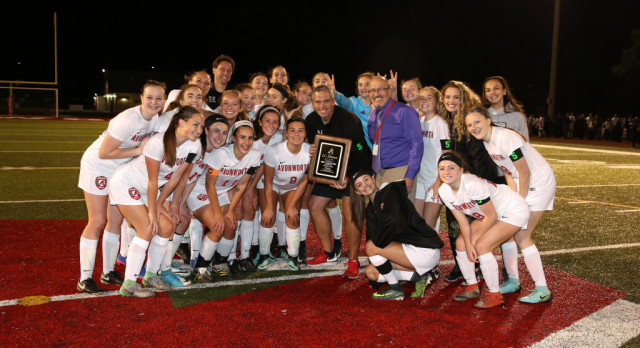 Girls Soccer Coach Receives Plaque for 100th Win!