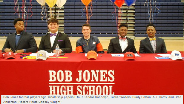 Five sign at Bob Jones on National Signing Day