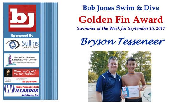 Bob Jones Swim & Dive Golden Fin Award winner for Sep 15th is Bryson Tesseneer