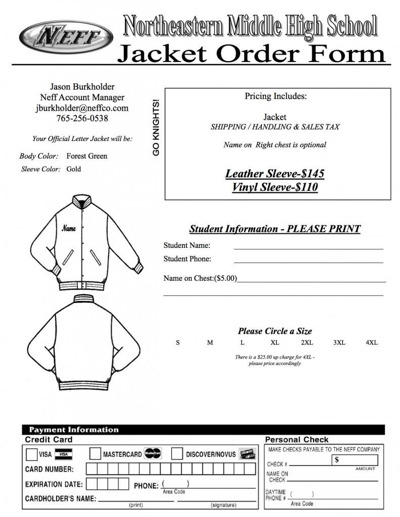 letter jacket order form 2015 2016