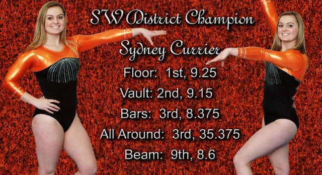 Gymnastics:  Sydney Currier wins big at Districts.