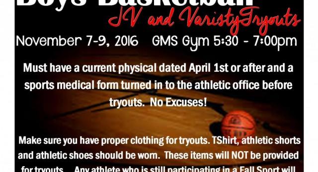 JV and Varsity Boys Basketball Tryouts