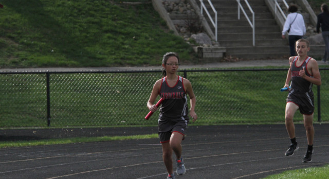 The Varsity girls track team lost to Manchester Tuesday (April 18) night 84-50.