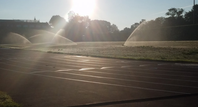 Early morning water on Pendleton Field