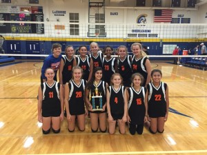 Murchison Middle School's 7th grade volleyball team, winners of the 2016 Lady Trojan Middle School Volleyball Tournament