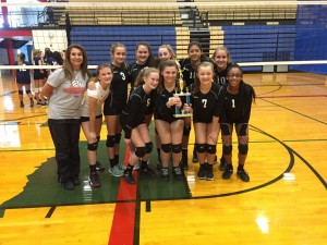 Murchison Middle School's 8th grade volleyball team, winners of the 2016 Lady Trojan Middle School Volleyball Tournament.