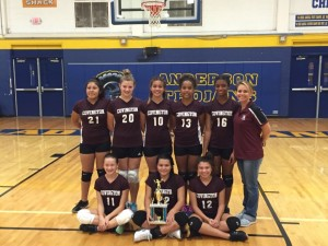 Covington Middle School's 7th grade volleyball team, second place finishers at the 2016 Lady Trojan Middle School Volleyball Tournament.