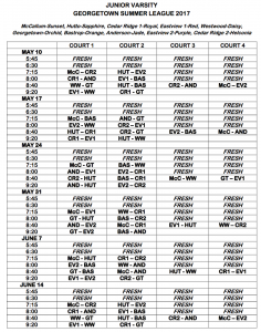 gtown summer vball league jv schedule