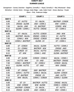 GTown Summer vball league varsity sched
