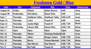 Freshmen Football Schedule 2017