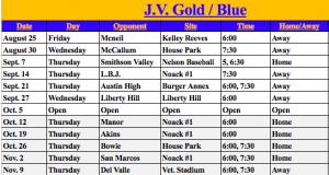 JV Schedule 2017
