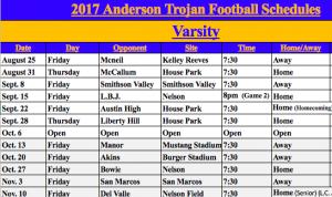 Varsity Schedule 2017