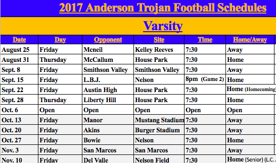 Football Game Schedules Are Here