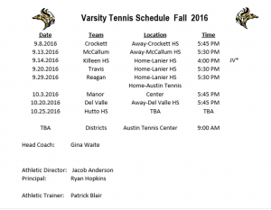 tennis schedule picture 2016
