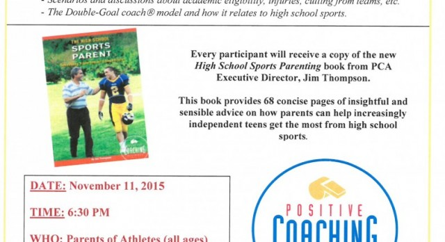 GWHS, District 6, City of Greeley ACE to Host Positive Coaching Alliance Workshops