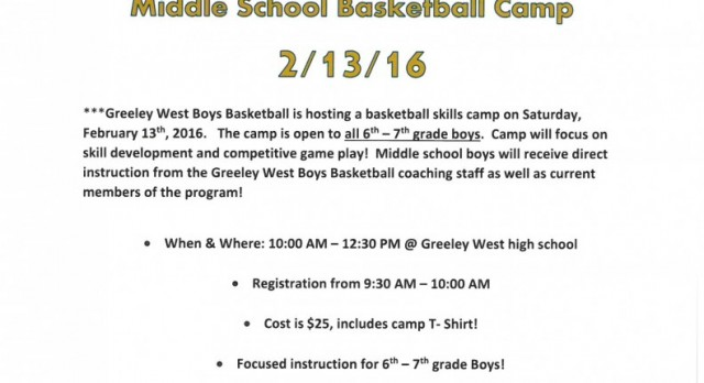 GWHS Boys Basketball Hosting Youth Camp on Feb. 13
