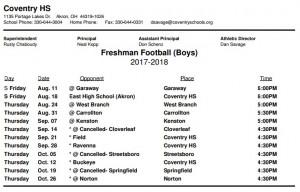 Freshman Schedule
