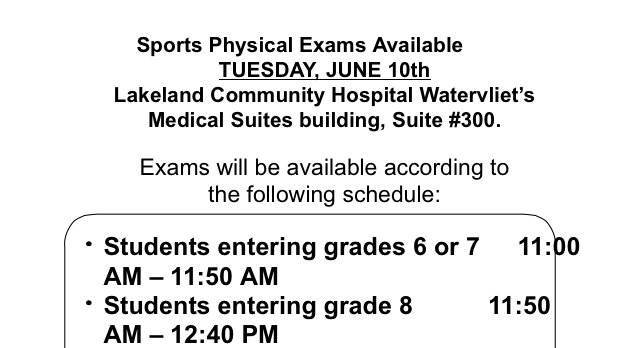 Sport Physicals Scheduled for June 10th