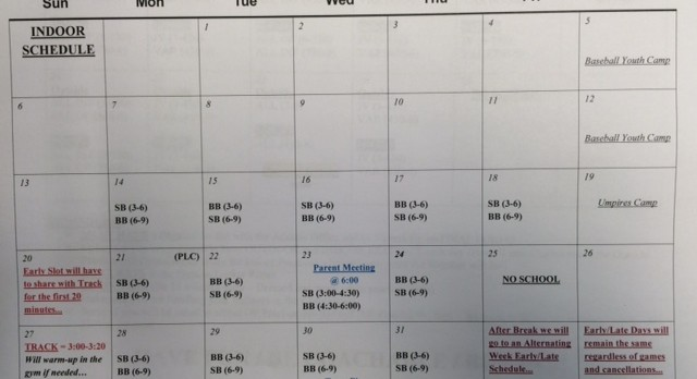 Spring Practice Times