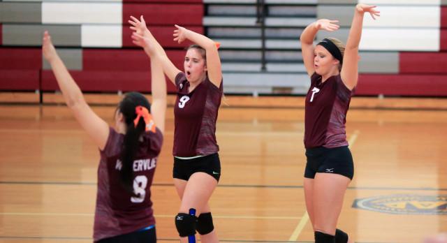 Watervliet High School Girls Varsity Volleyball beat Galesburg-Augusta High School 3-2