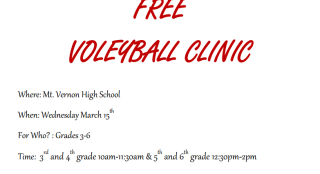 FREE volleyball clinic for 3rd-6th graders!